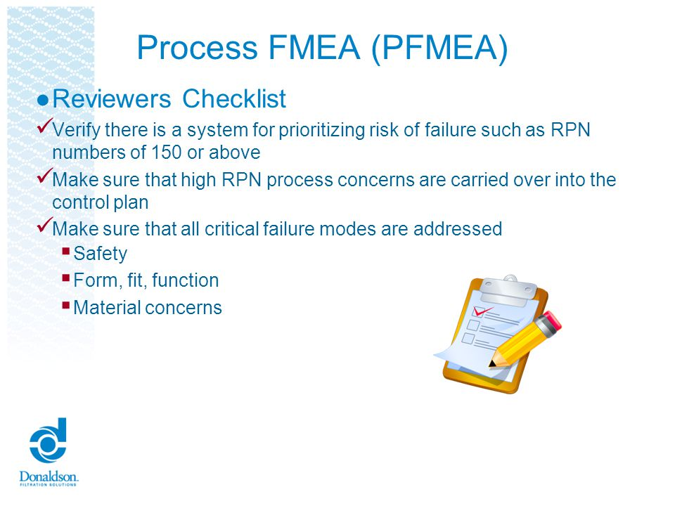 Process FMEA (PFMEA) Reviewers Checklist