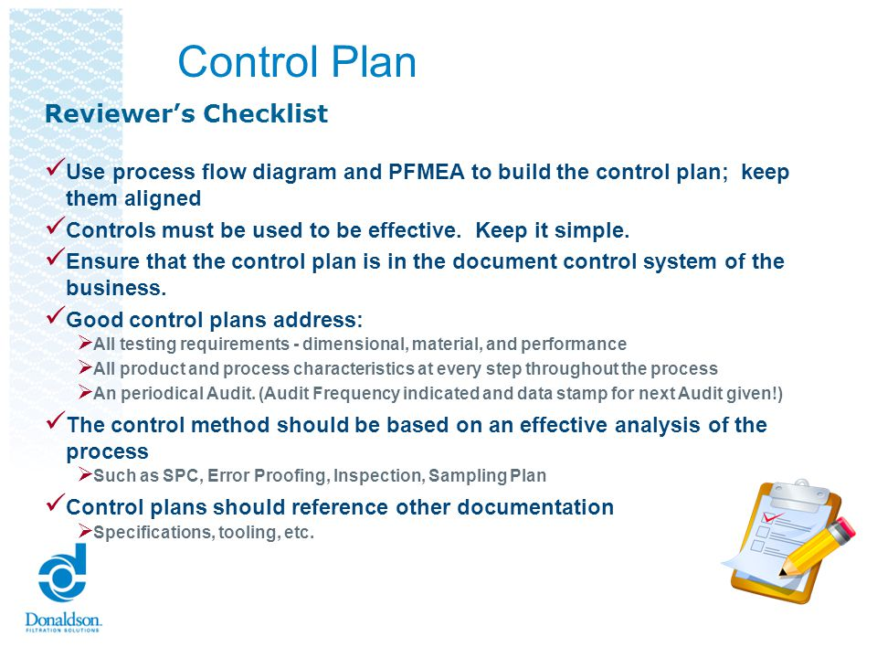 Control Plan Reviewer's Checklist