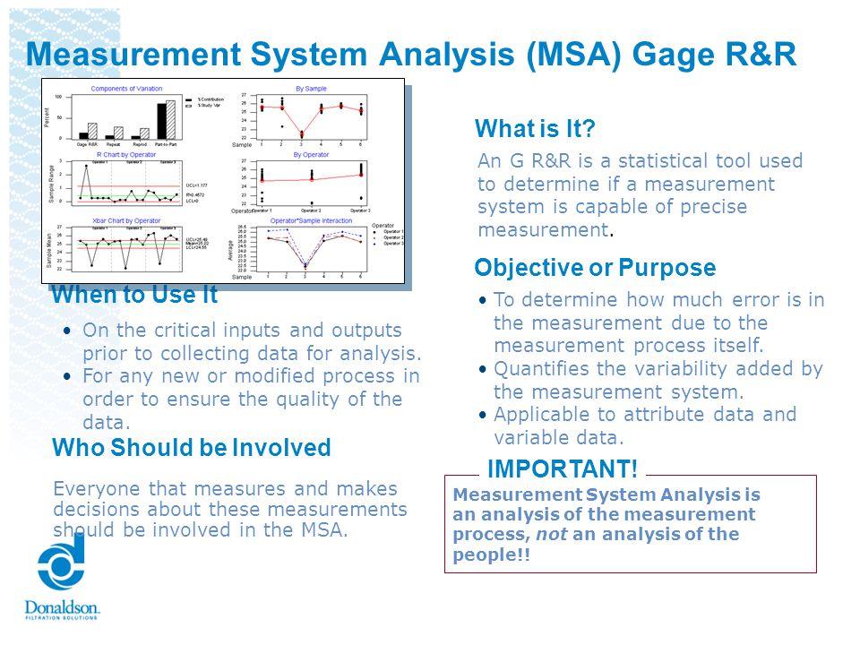Measurement System Analysis (MSA) Gage R&R
