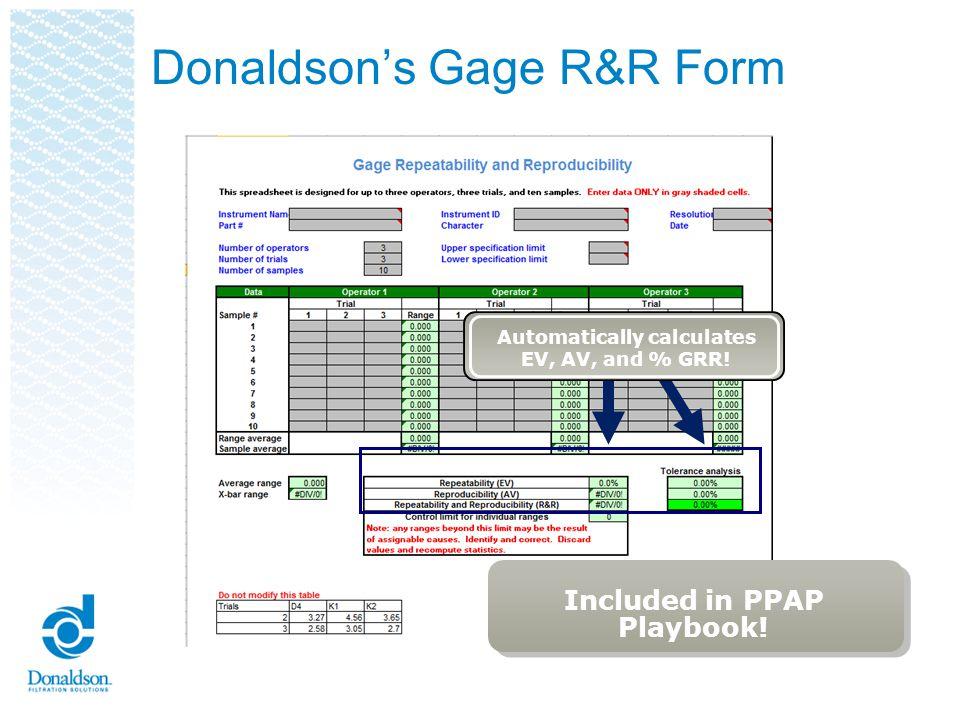 Donaldson's Gage R&R Form
