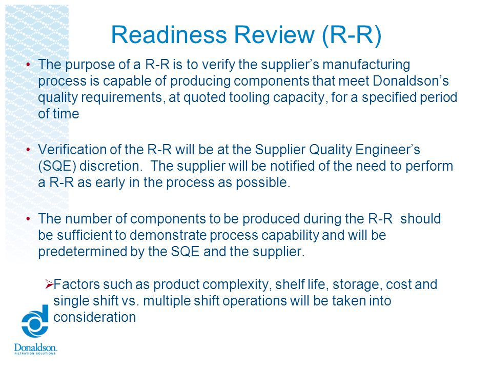 Readiness Review (R-R)