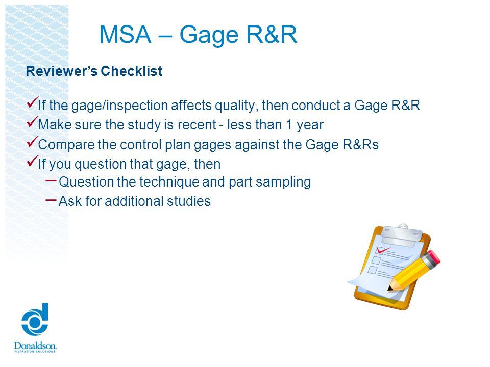 MSA – Gage R&R Reviewer's Checklist