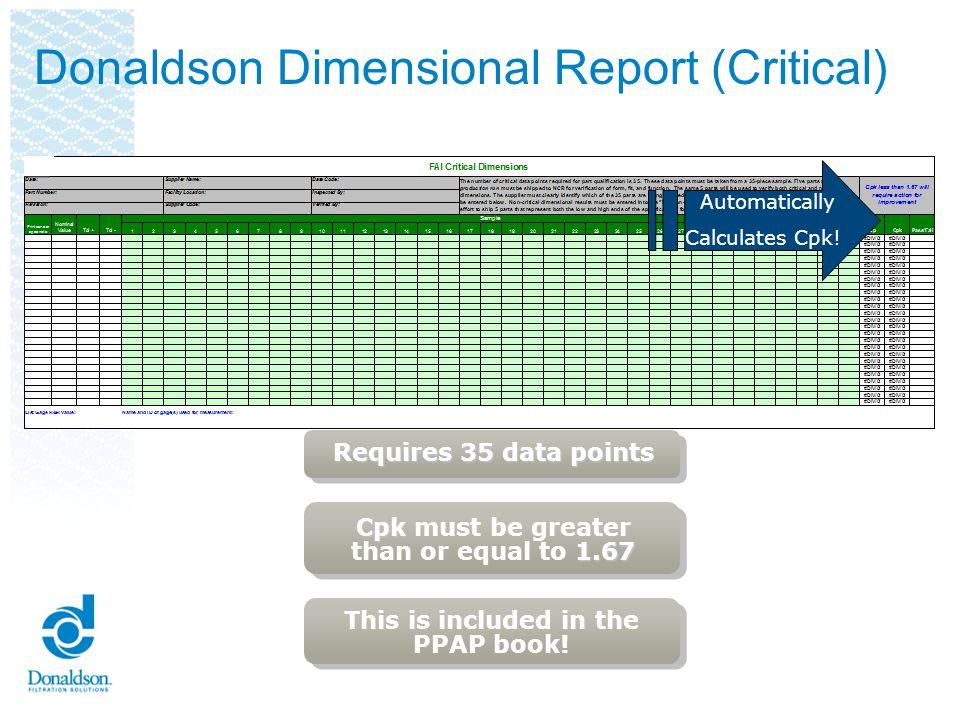 Donaldson Dimensional Report (Critical)