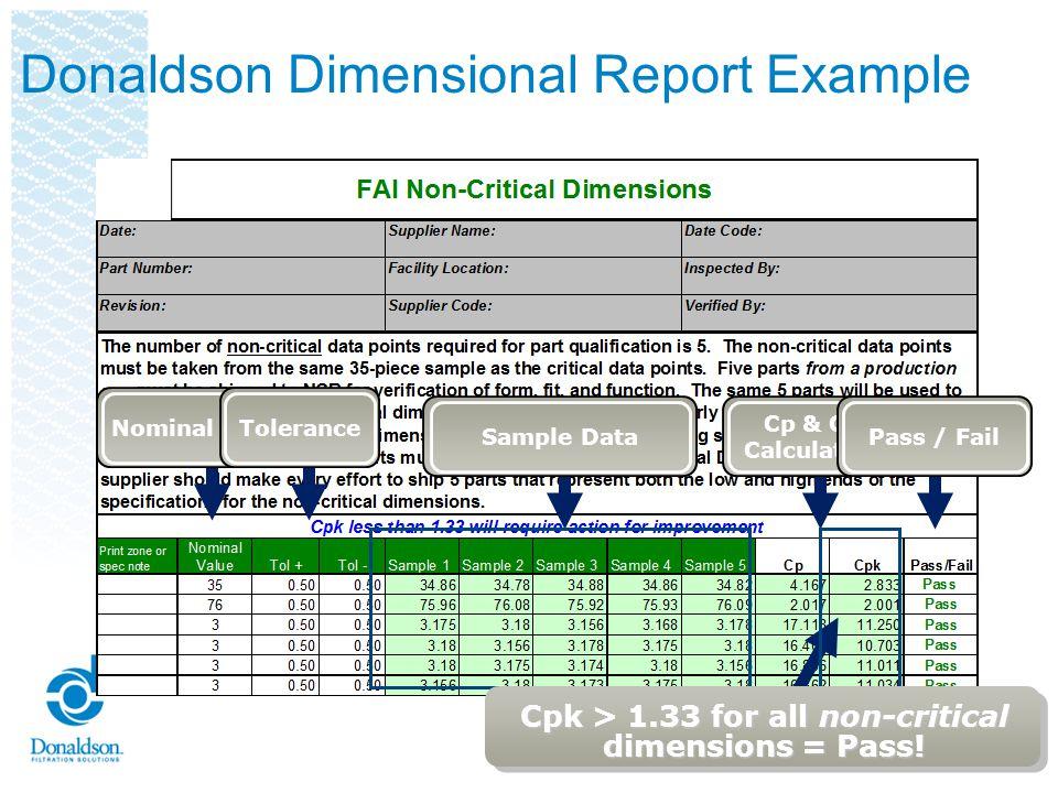 Donaldson Dimensional Report Example