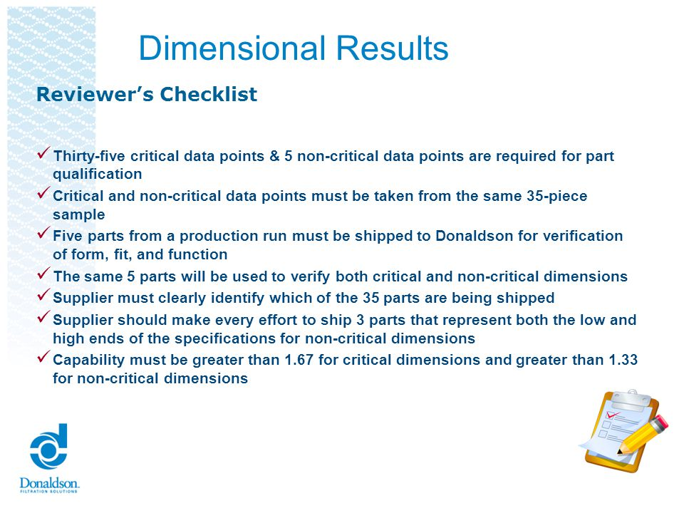 Dimensional Results Reviewer's Checklist