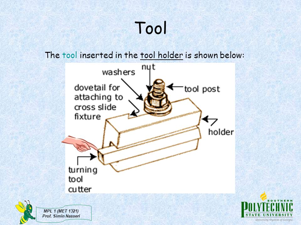 Tool The tool inserted in the tool holder is shown below: