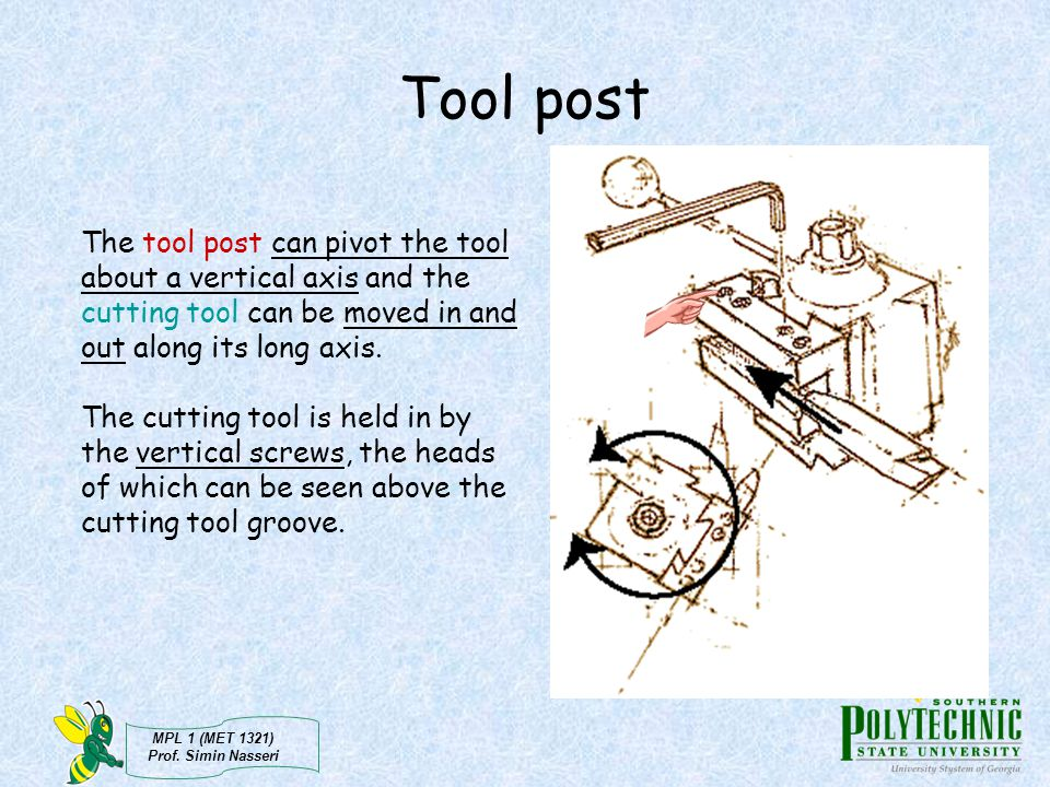 Tool post The tool post can pivot the tool about a vertical axis and the cutting tool can be moved in and out along its long axis.