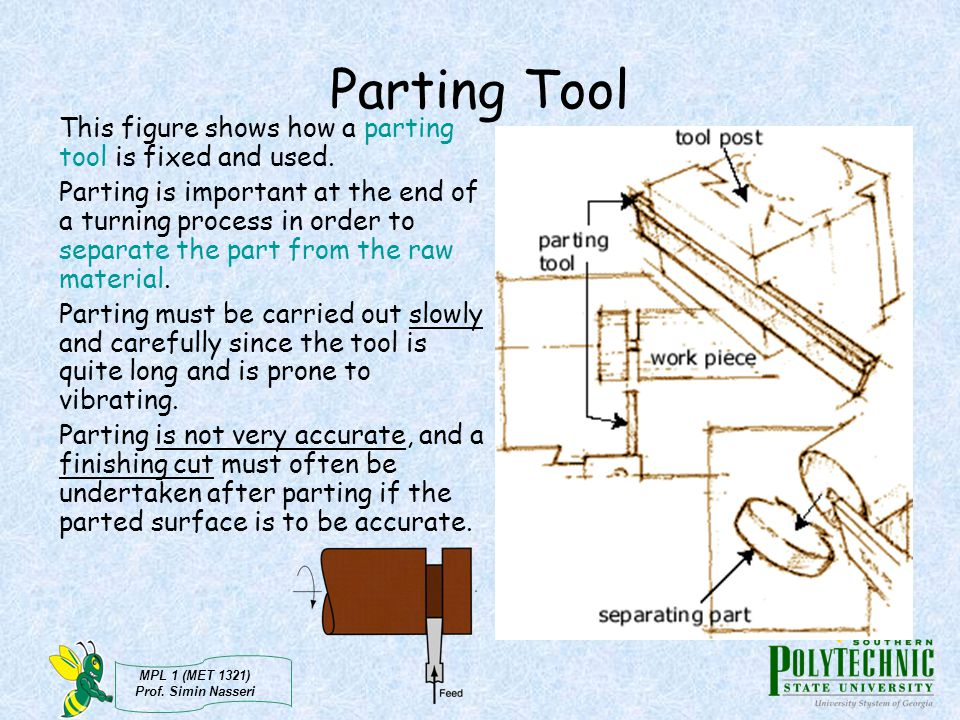 Parting Tool This figure shows how a parting tool is fixed and used.