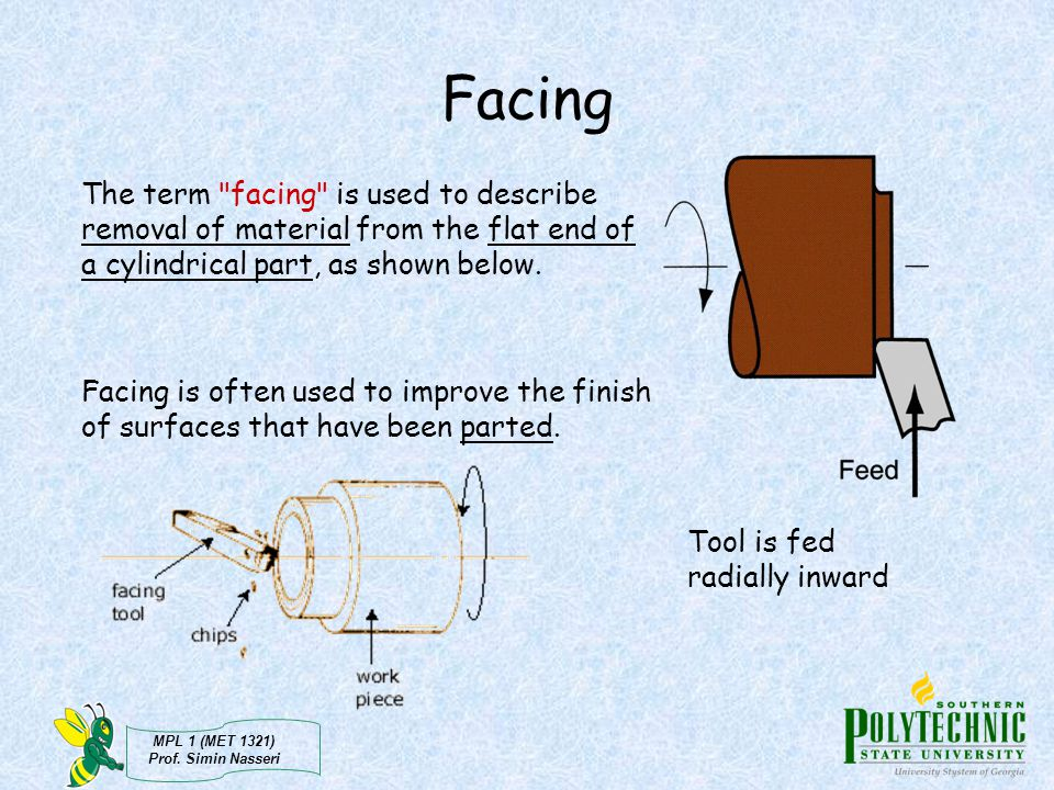 Facing The term facing is used to describe removal of material from the flat end of a cylindrical part, as shown below.