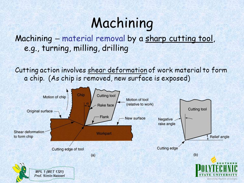 Machining Machining – material removal by a sharp cutting tool, e.g., turning, milling, drilling.