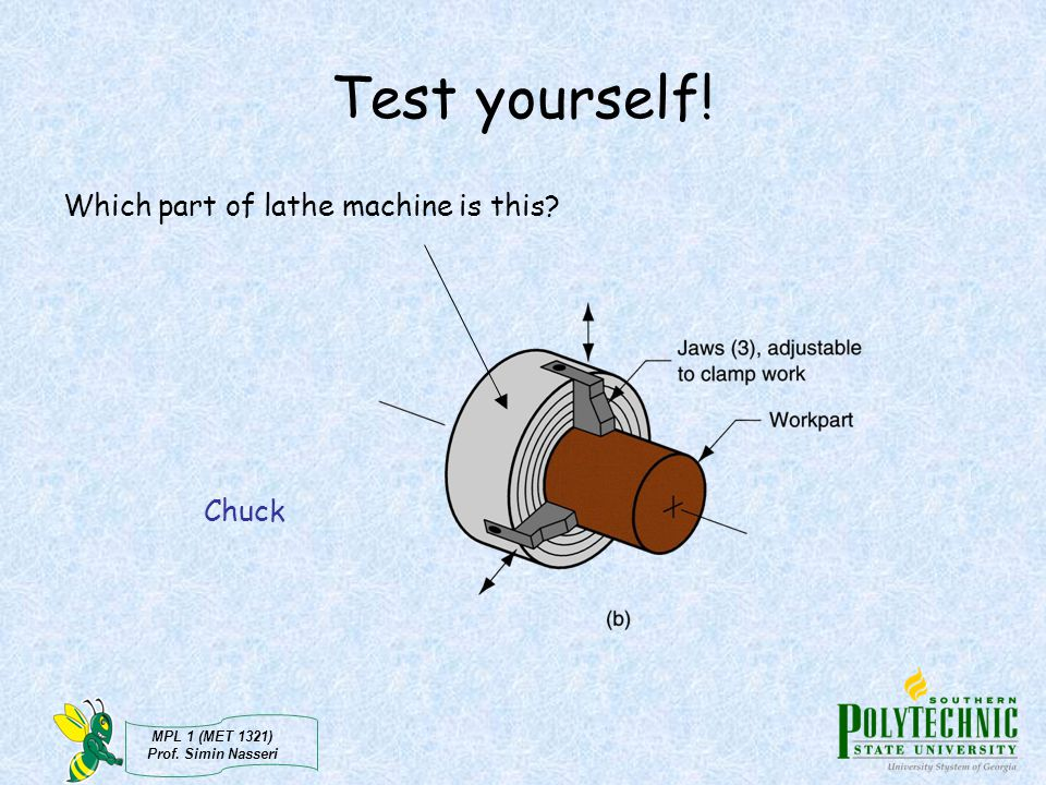 Test yourself! Which part of lathe machine is this Chuck