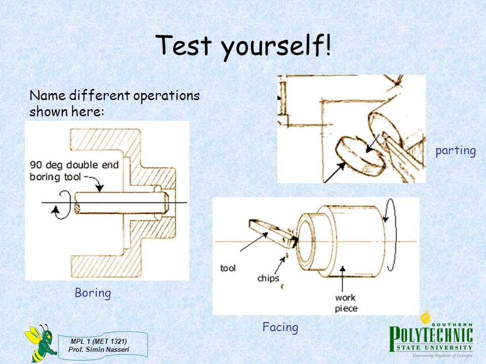 Test yourself! Name different operations shown here: parting Boring