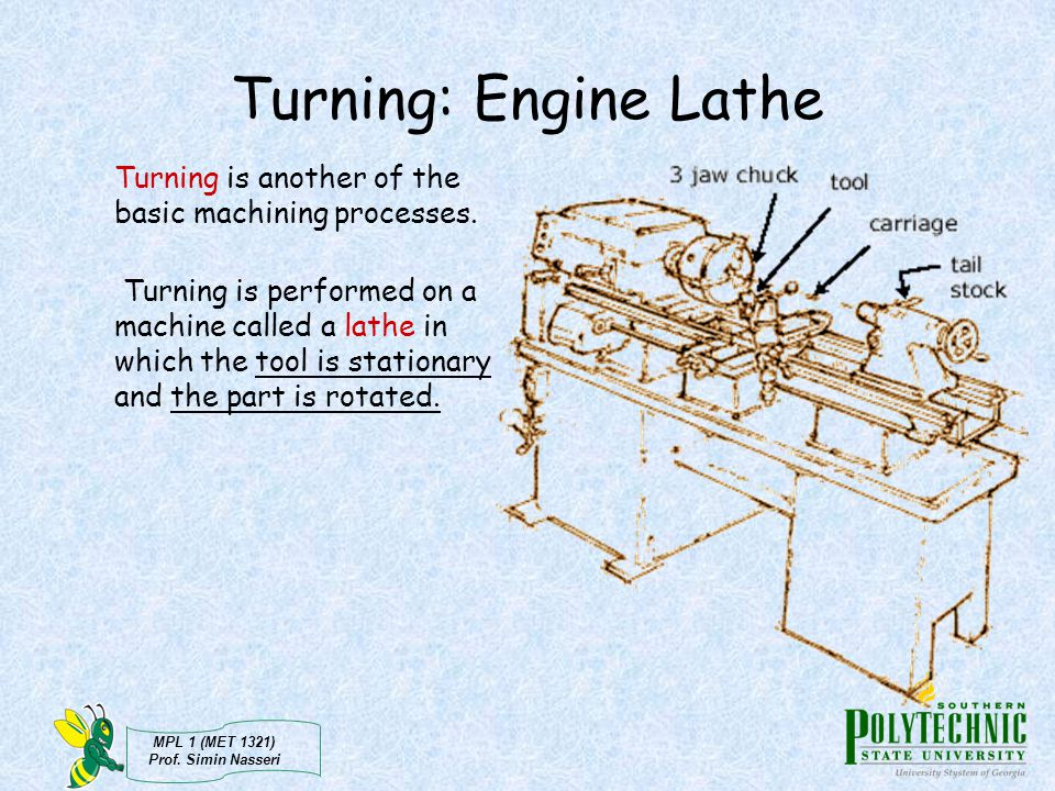 Turning: Engine Lathe Turning is another of the basic machining processes.