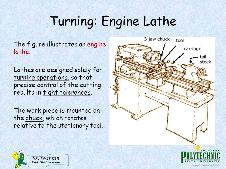Turning: Engine Lathe The figure illustrates an engine lathe.