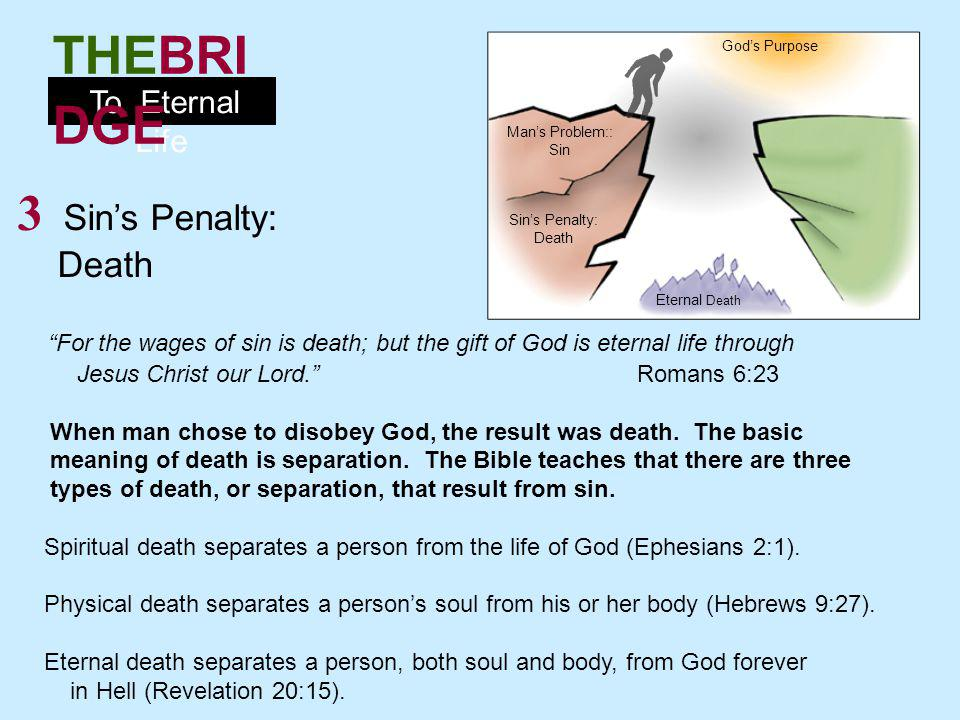 God's Purpose Man's Problem:: Sin. 3 Sin's Penalty: Death. For the wages of sin is death; but the gift of God is eternal life through.