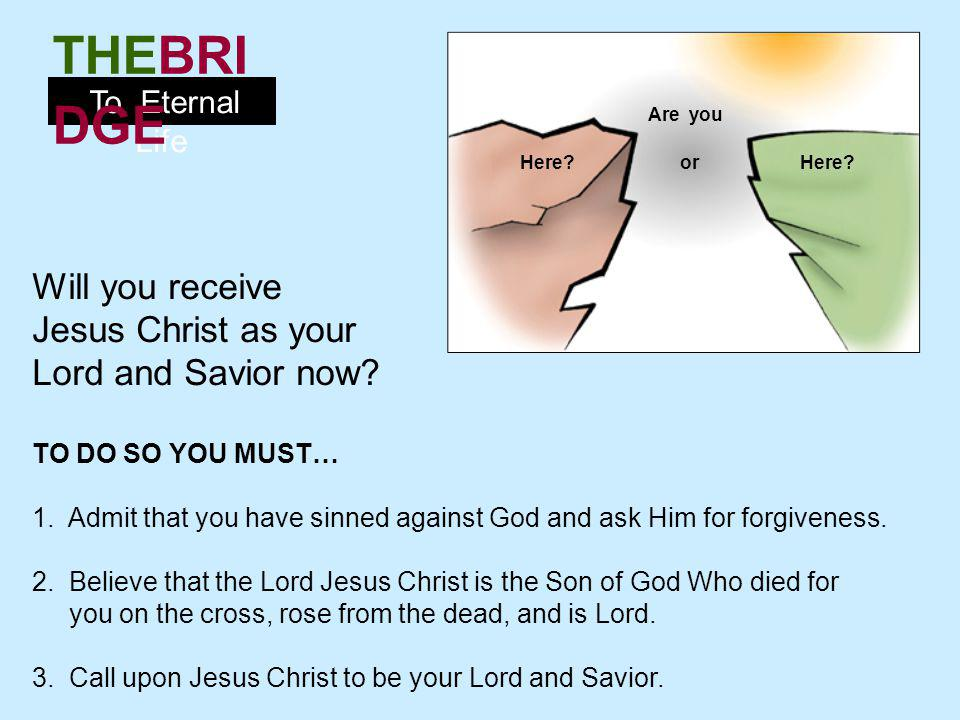 Will you receive Jesus Christ as your Lord and Savior now
