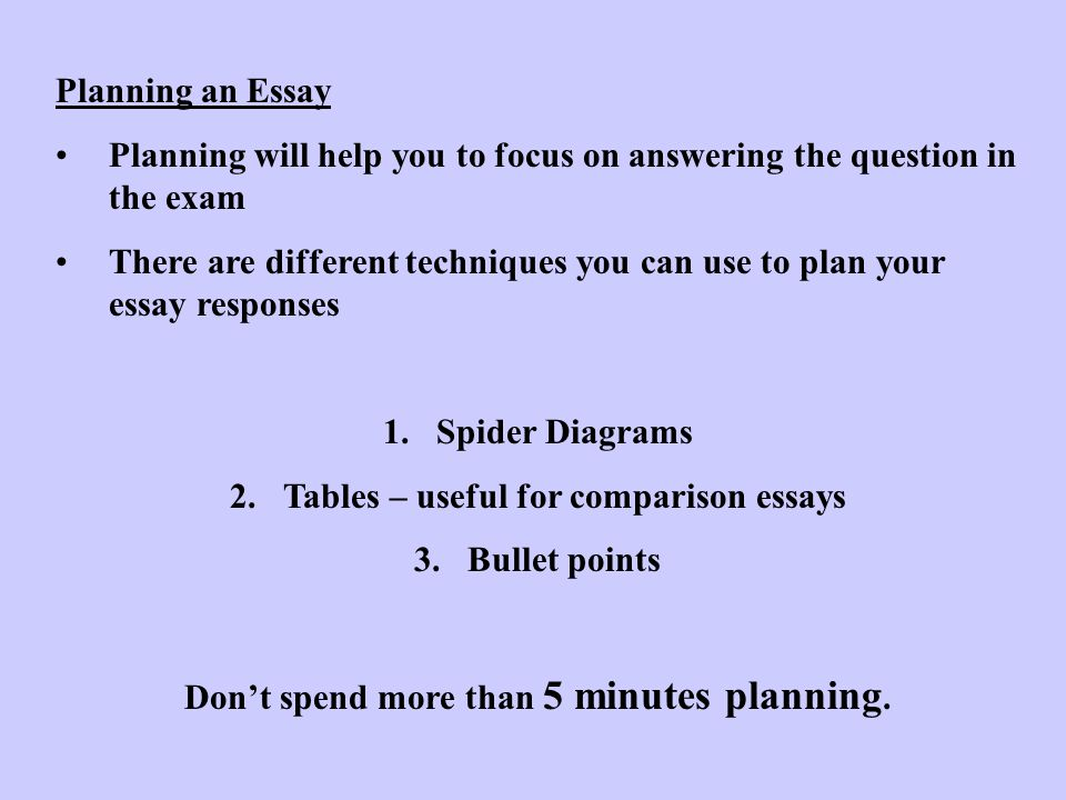Planning will help you to focus on answering the question in the exam