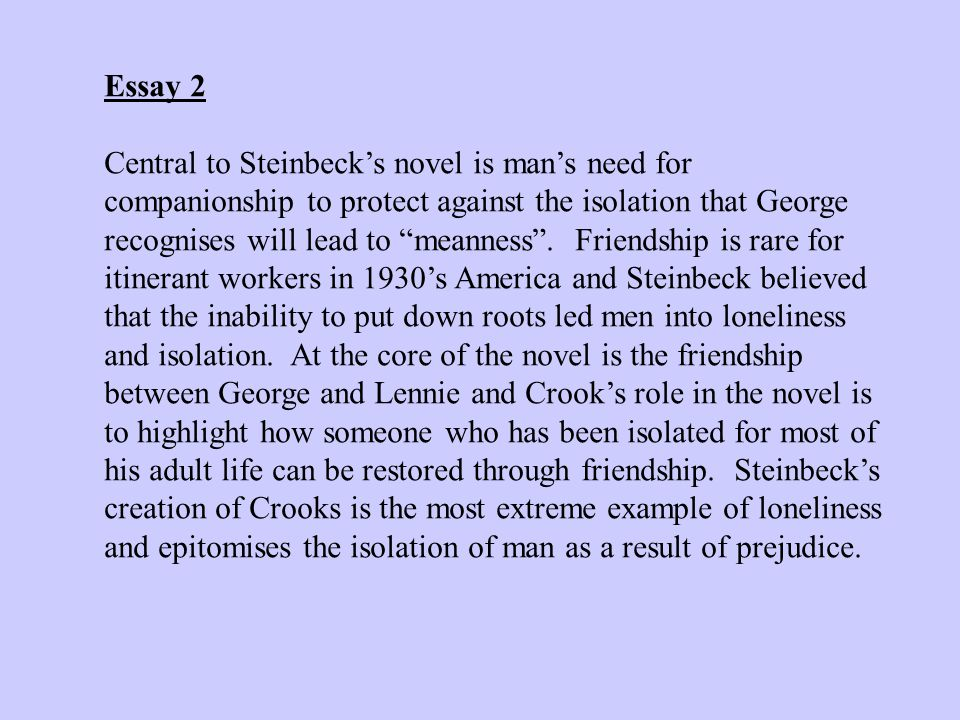 the novel of mice and men by john steinbeck 2 essay