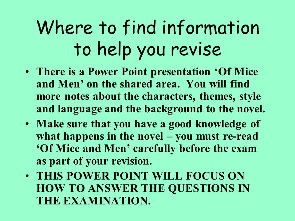 Where to find information to help you revise