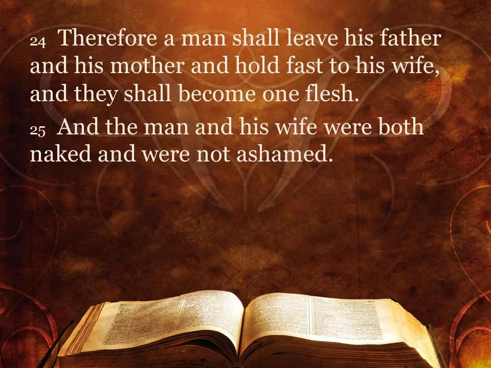 24 Therefore a man shall leave his father and his mother and hold fast to his wife, and they shall become one flesh.