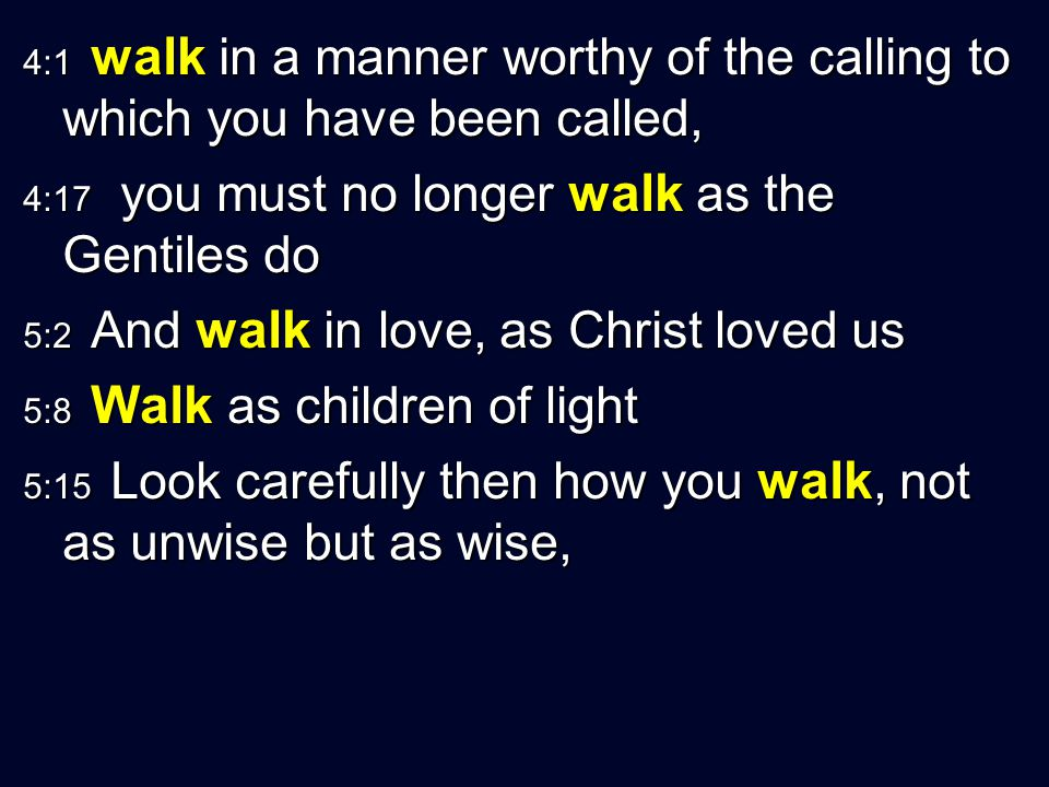 4:1 walk in a manner worthy of the calling to which you have been called,