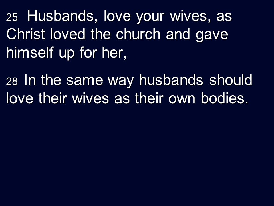 25 Husbands, love your wives, as Christ loved the church and gave himself up for her,
