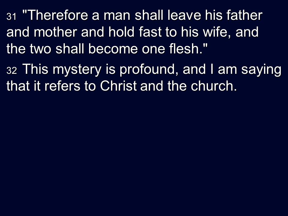 31 Therefore a man shall leave his father and mother and hold fast to his wife, and the two shall become one flesh.