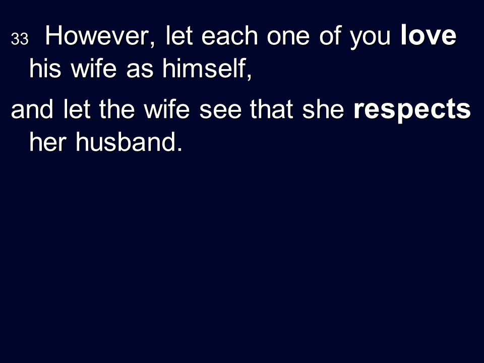 and let the wife see that she respects her husband.