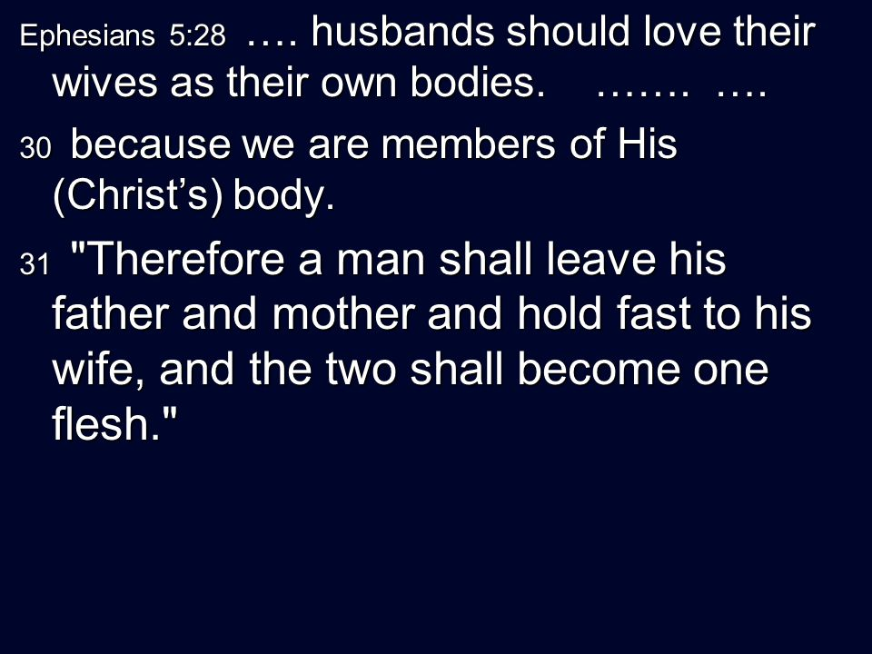 Ephesians 5:28 …. husbands should love their wives as their own bodies