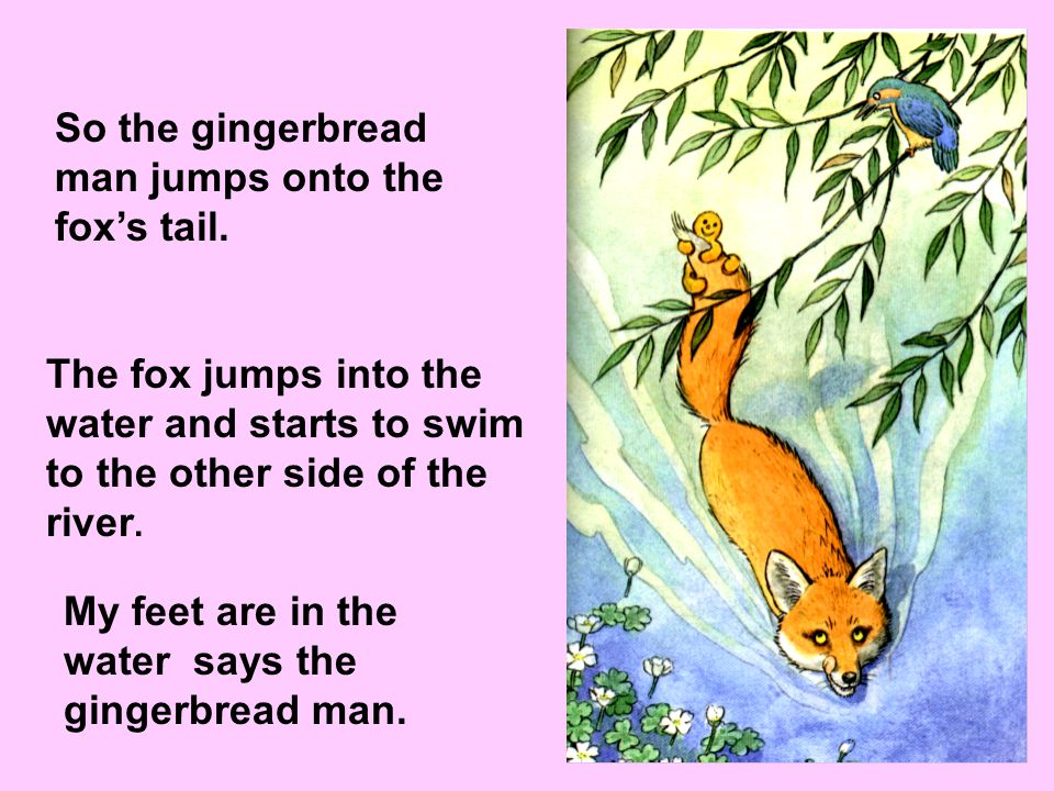 So the gingerbread man jumps onto the fox's tail.