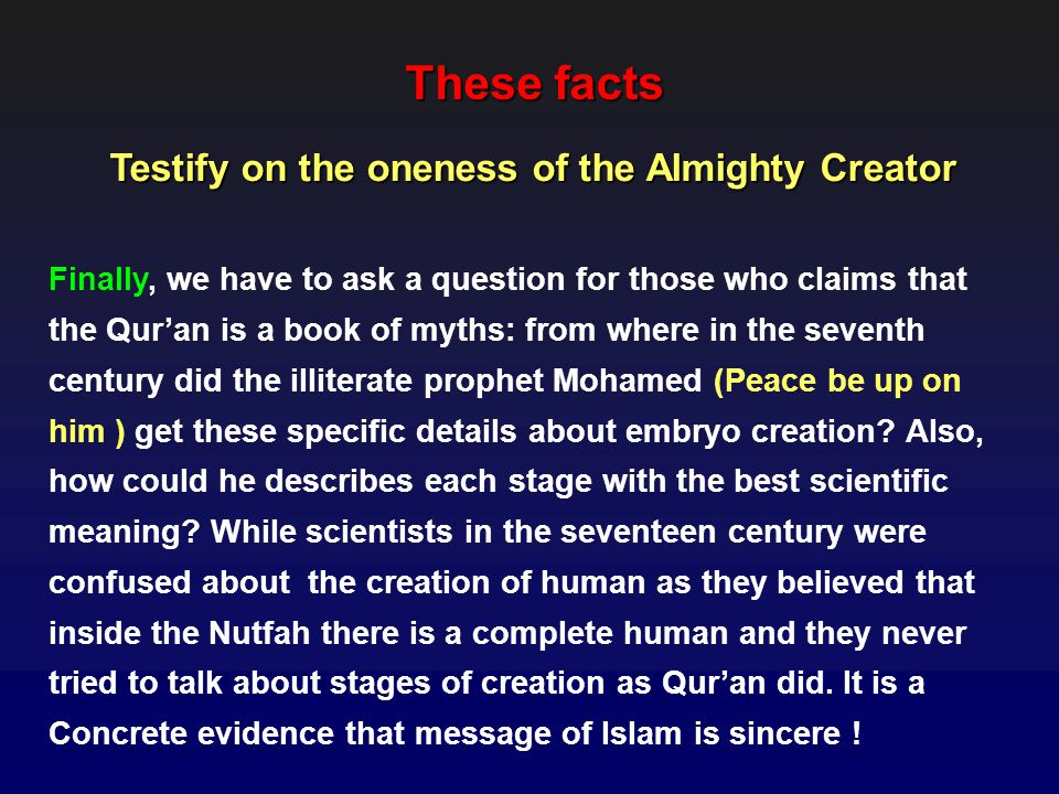 Testify on the oneness of the Almighty Creator