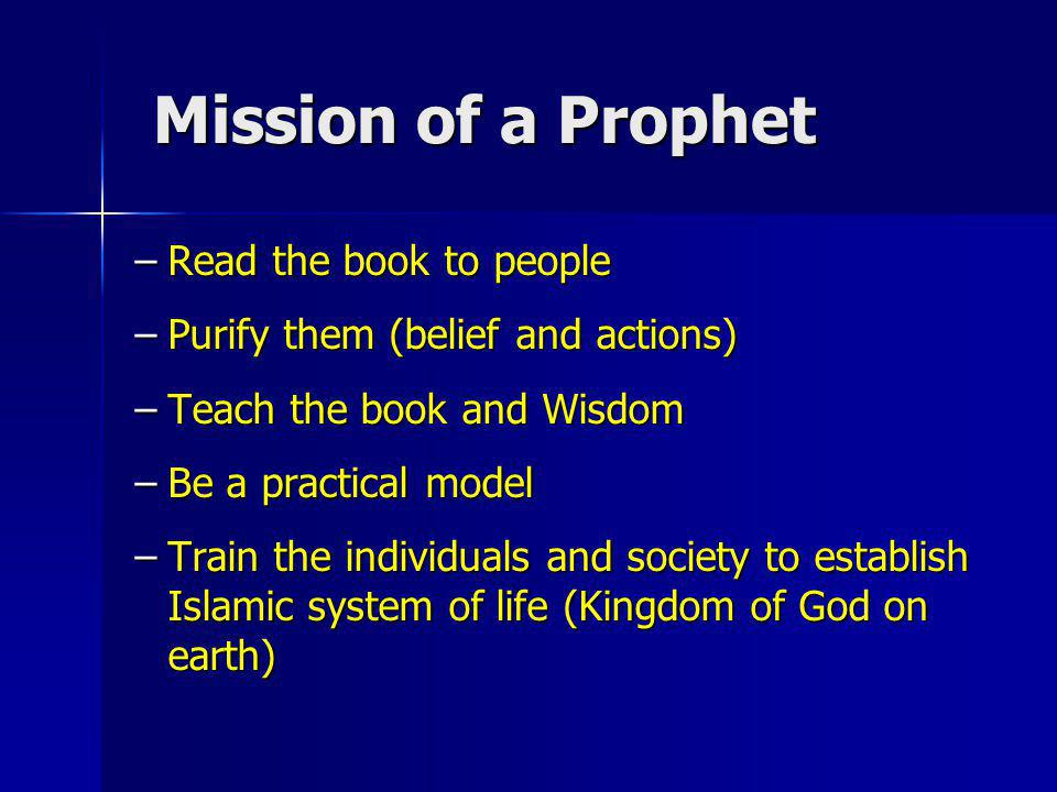 Mission of a Prophet Read the book to people