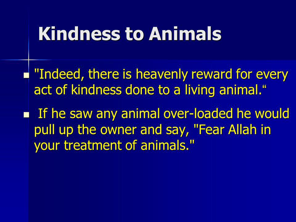 Kindness to Animals Indeed, there is heavenly reward for every act of kindness done to a living animal.
