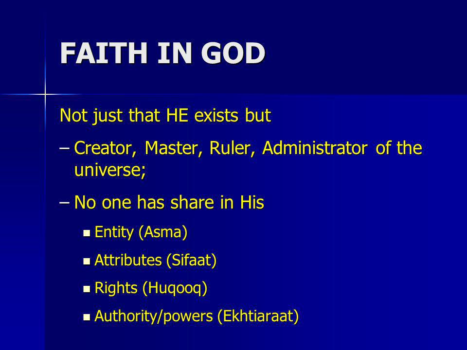 FAITH IN GOD Not just that HE exists but