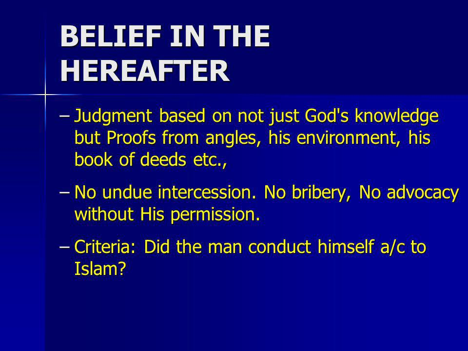 BELIEF IN THE HEREAFTER