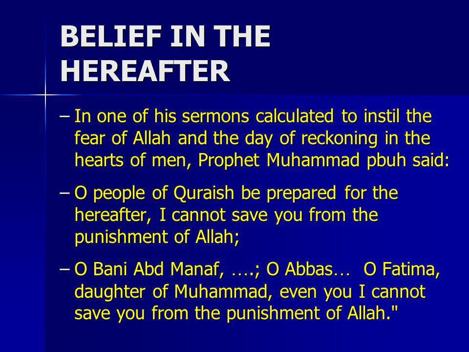 BELIEF IN THE HEREAFTER