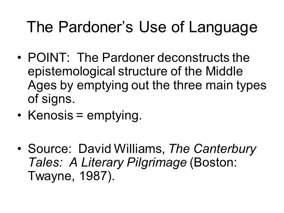 The Pardoner's Use of Language