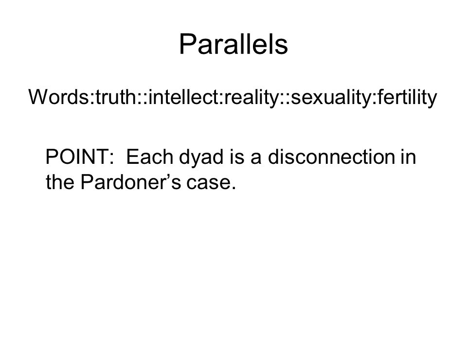 Parallels Words:truth::intellect:reality::sexuality:fertility