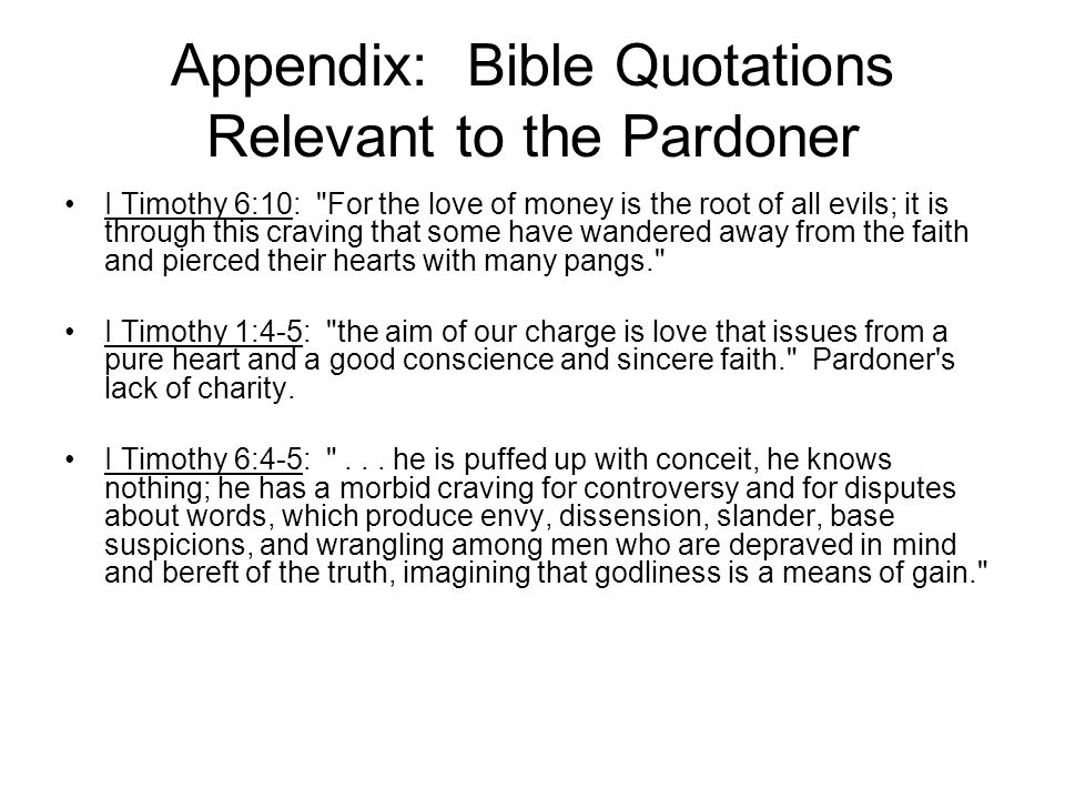 Appendix: Bible Quotations Relevant to the Pardoner