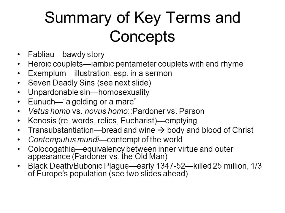 Summary of Key Terms and Concepts