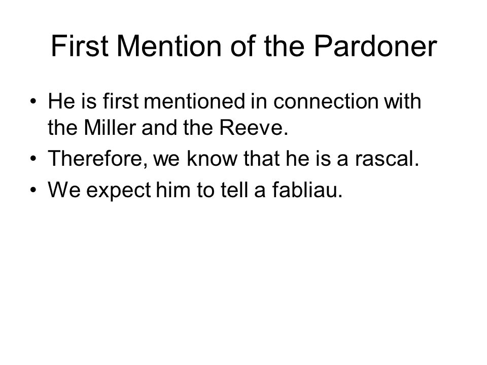 First Mention of the Pardoner