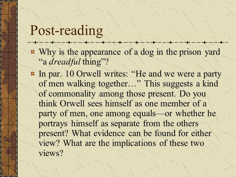Post-reading Why is the appearance of a dog in the prison yard a dreadful thing