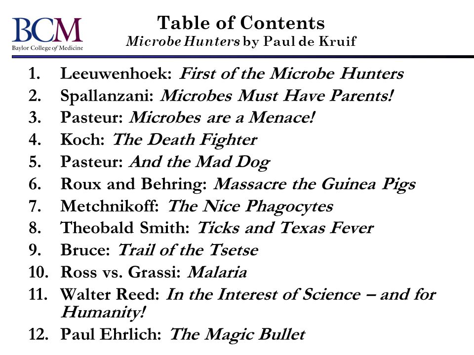 Table of Contents Microbe Hunters by Paul de Kruif