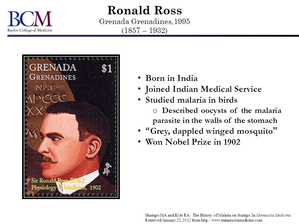 Ronald Ross Grenada Grenadines,1995 (1857 – 1932)