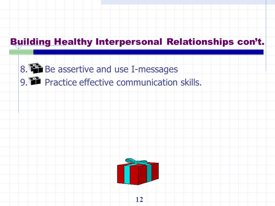 Building Healthy Interpersonal Relationships con't.
