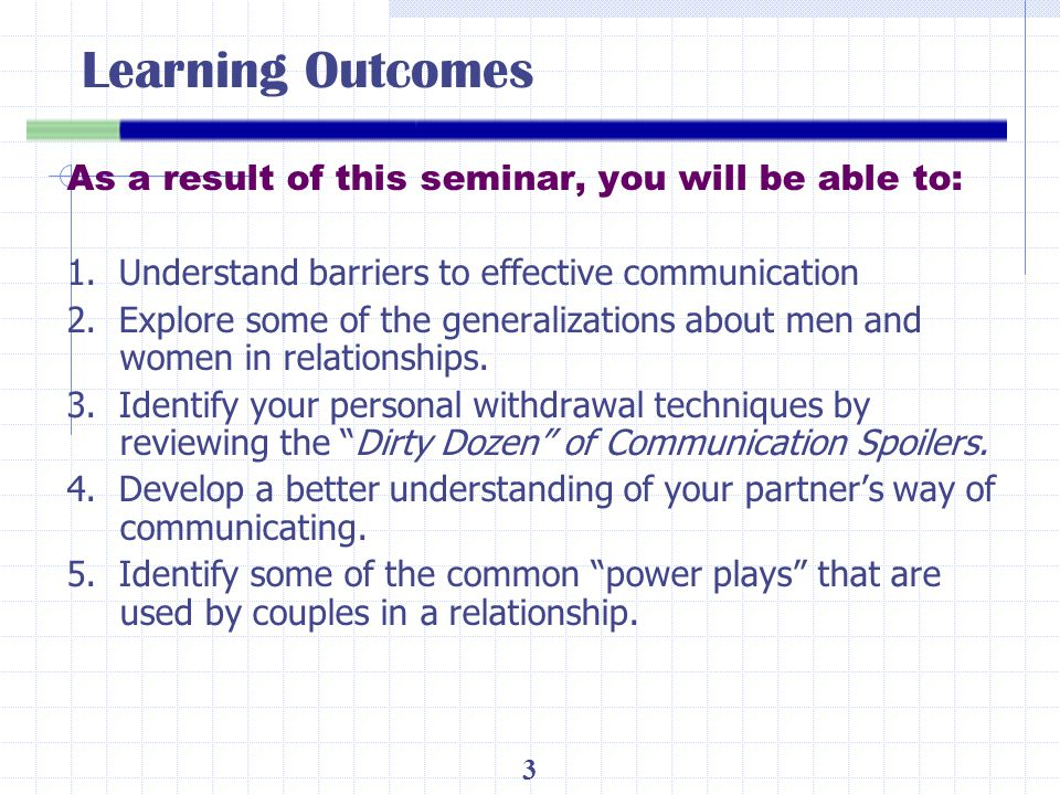 Learning Outcomes As a result of this seminar, you will be able to: