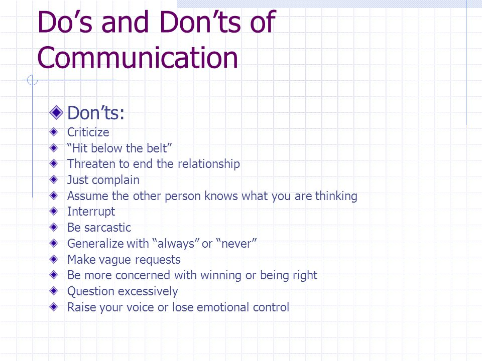 Do's and Don'ts of Communication
