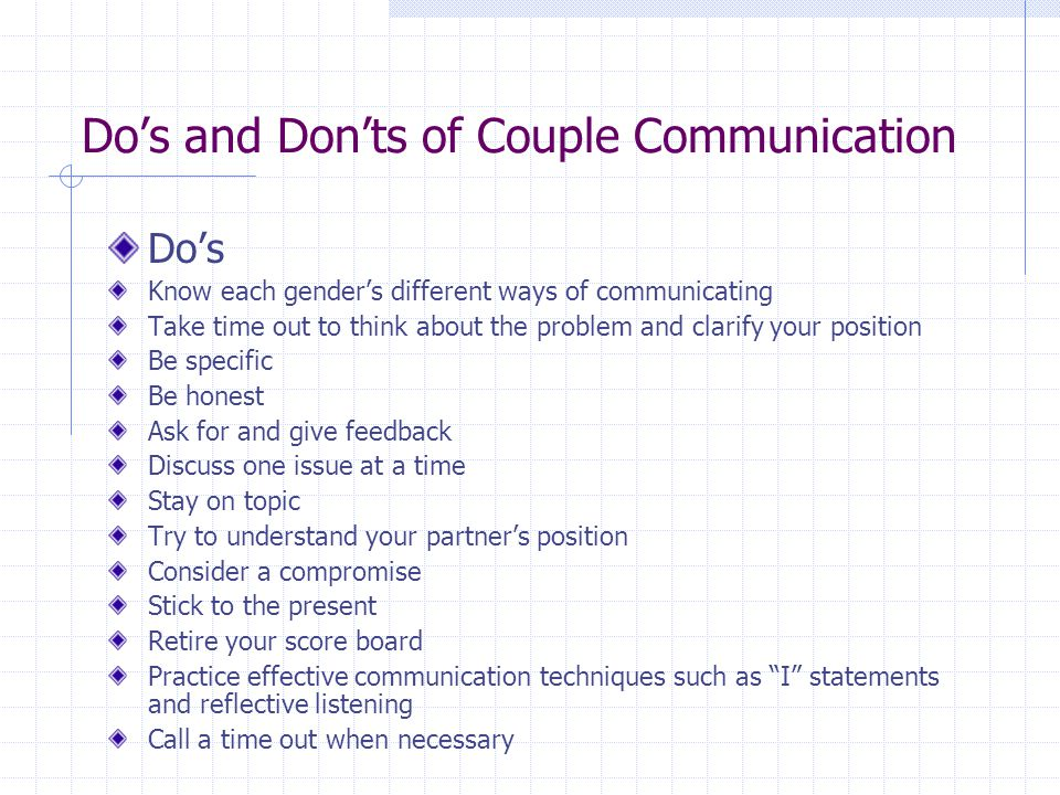 Do's and Don'ts of Couple Communication