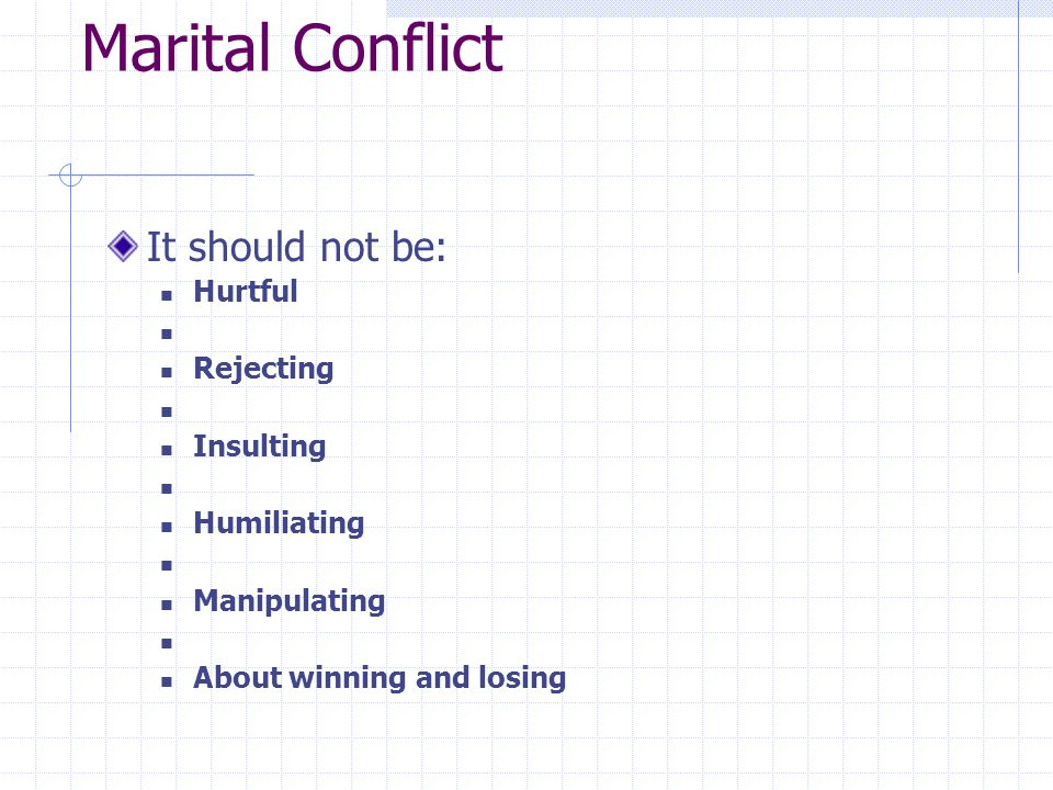 Marital Conflict It should not be: Hurtful Rejecting Insulting