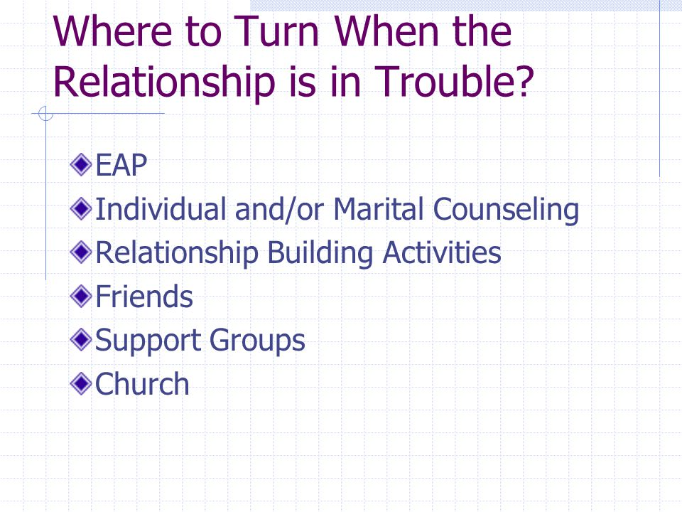 Where to Turn When the Relationship is in Trouble